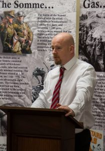 Quincey speaking at Sloan's House Museum of Orange Heritage in Loughgall September 2016