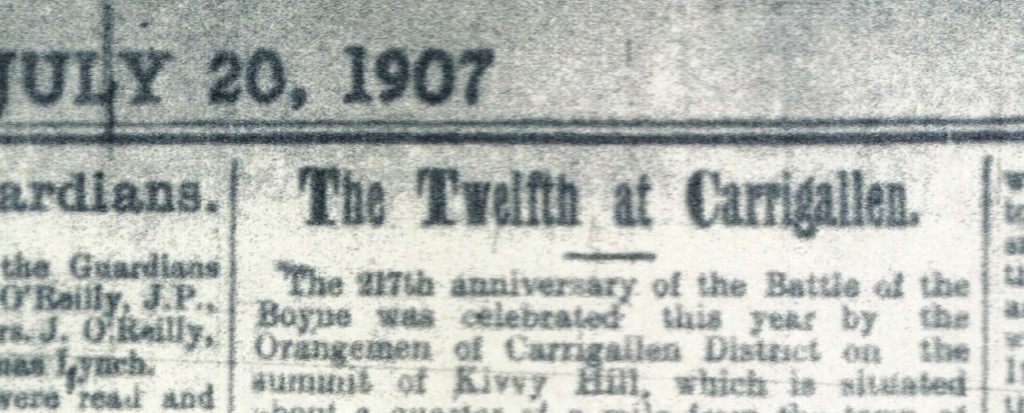 Carrigallen Twelfth headline in Cavan Weekly News