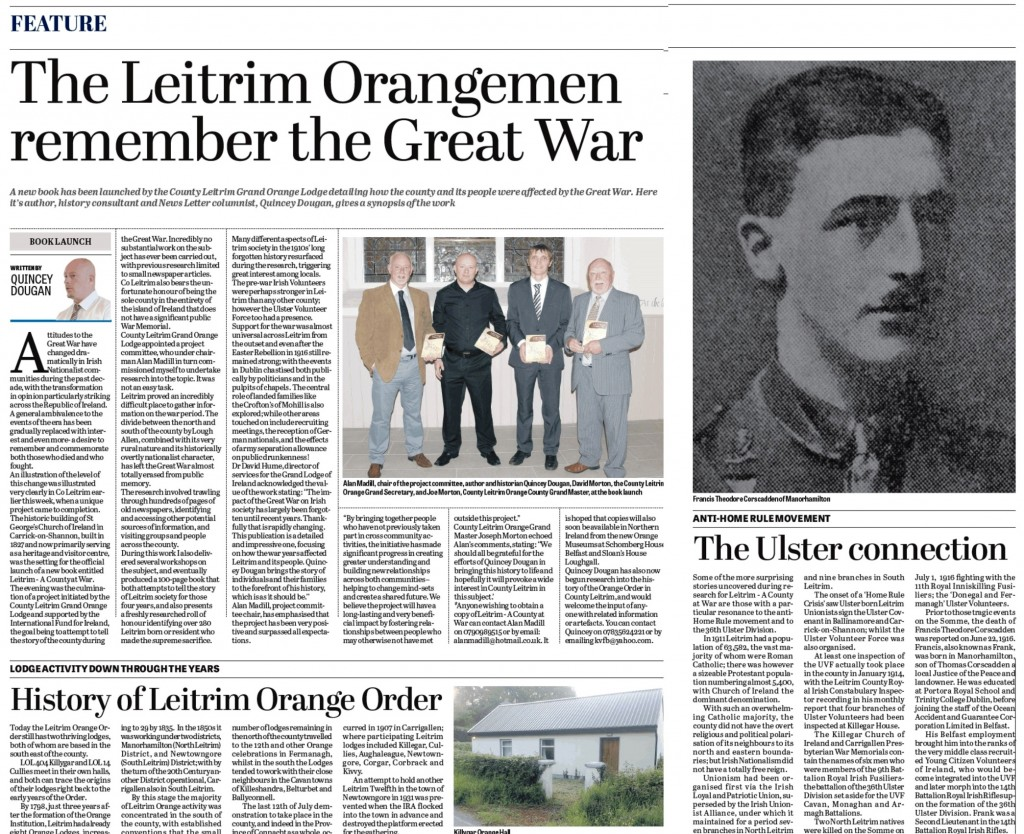 Leitrim Great War book newspaper article in Newsletter
