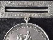 Achill Island Orange Lodge1854 medal (private   collection)